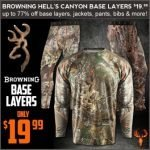Browning Hell's Canyon Base Layer Crew or Pants- $19.99