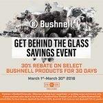 30% Rebate on Bushnell Optics – Ends 3/31/2018