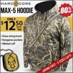 Hardcore Realtree Max-5 Hoodies at Wing Supply- $12.50 – Ends 12/3