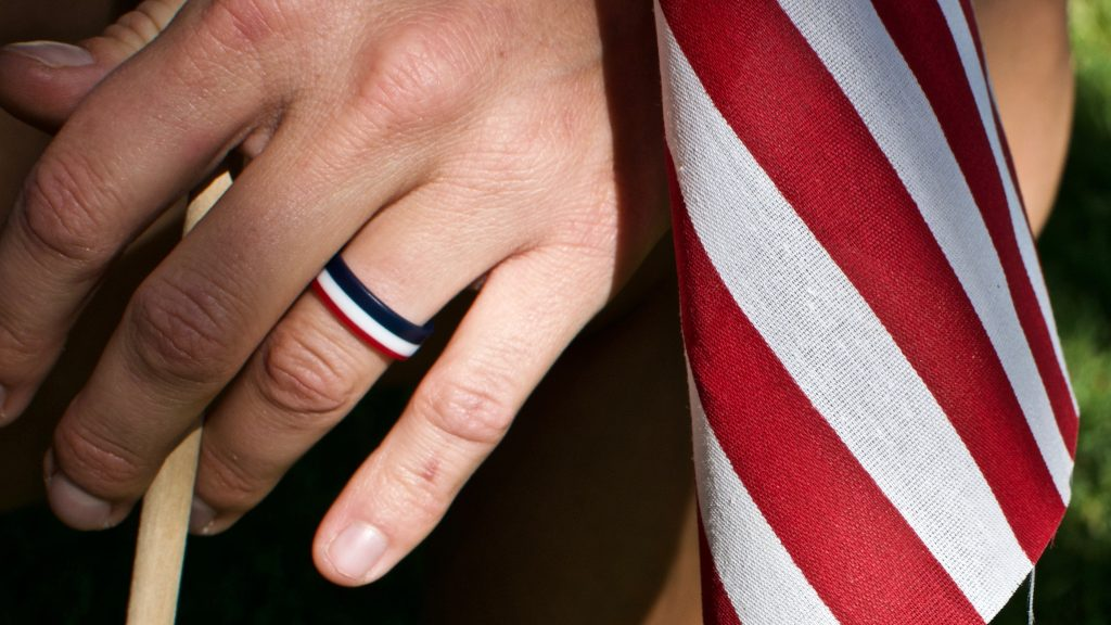 WOMEN'S RED WHITE AND BLUE PINSTRIPE SILICONE RING